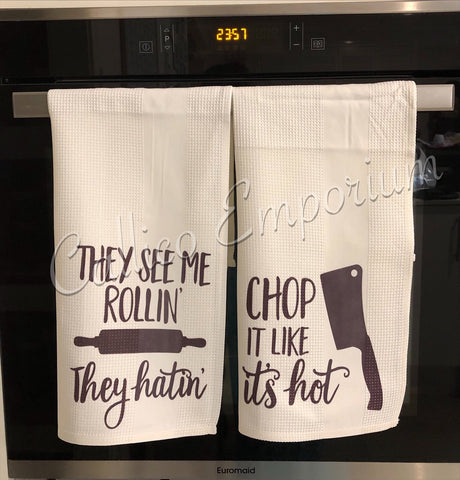 Quirky and Adapted Song Lyrics Printed Tea Towels