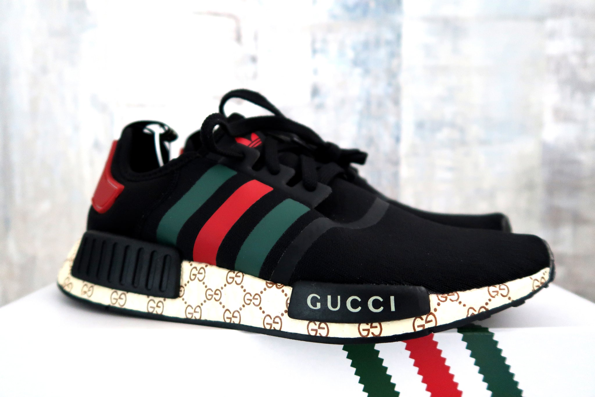 f95d7e80003e6 Adidas NMD Black Custom Gucci Shoe – ASSC.one
