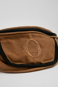 Deptford brown beeswaxed cotton bum bag with brown logo