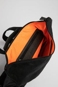 Brockley vintage black heavy waxed cotton backpack