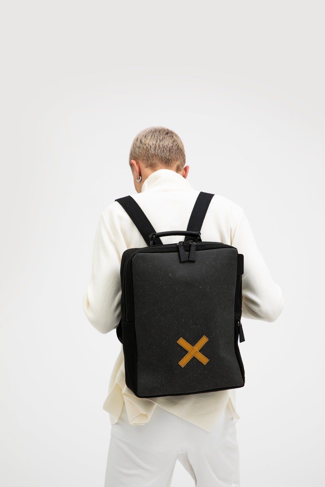 Blackfriars grey recycled leather and cotton backpack