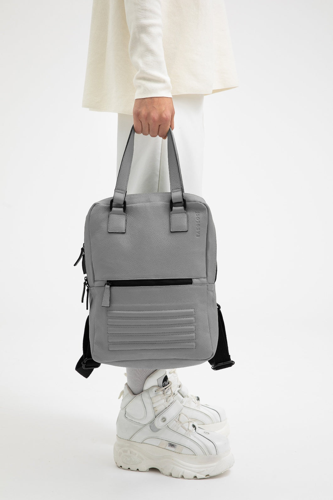 Holborn light grey leather two in one unisex backpack