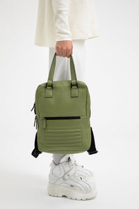 Holborn olive green leather two in one unisex backpack