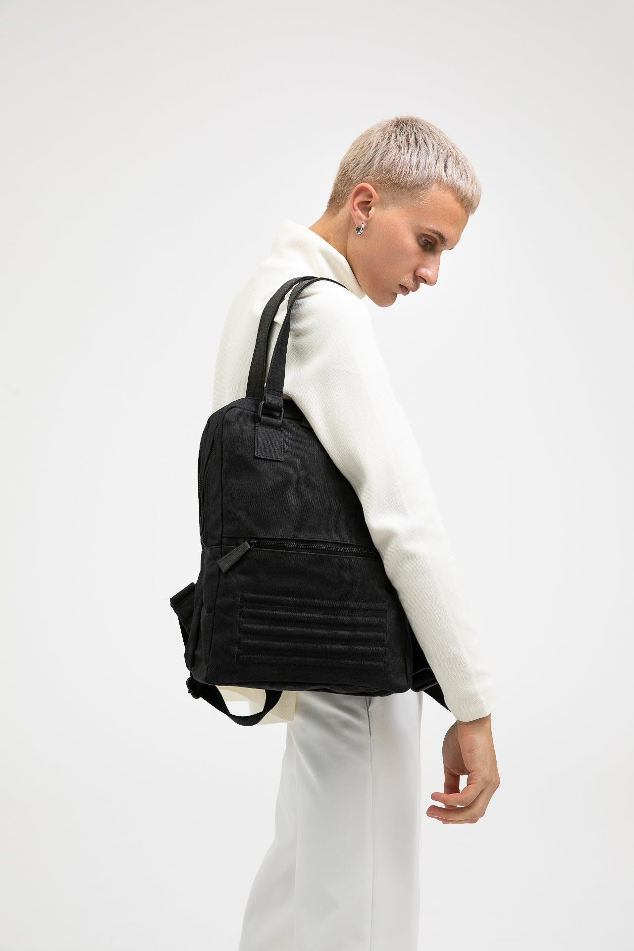 Holborn vintage black heavy waxed cotton backpack
