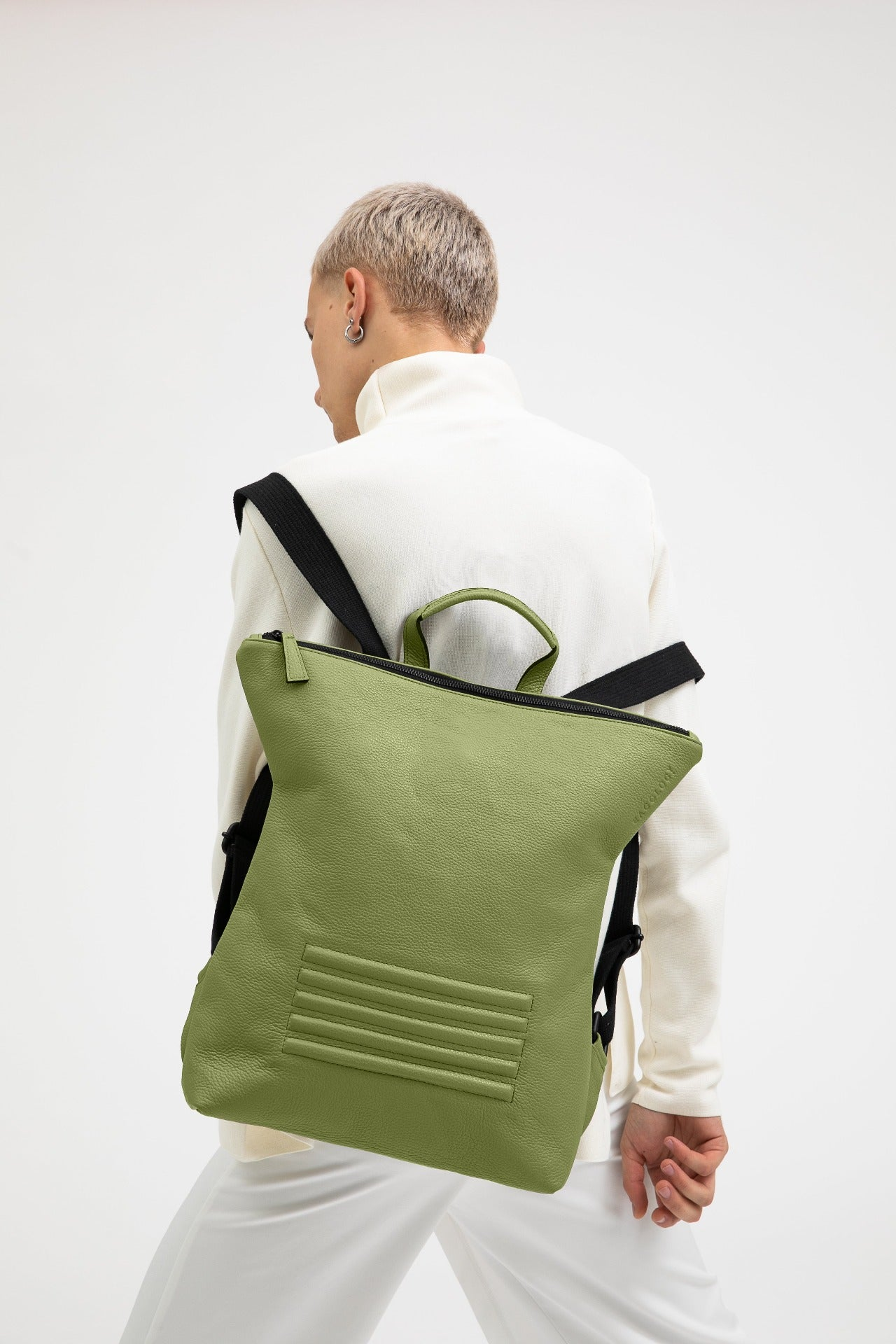 Brockley olive green leather unisex backpack