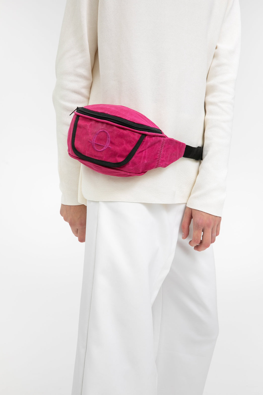 Deptford pink beeswaxed cotton bum bag with pink logo