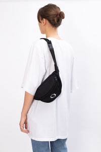 Deptford black waxed cotton bum bag with white logo