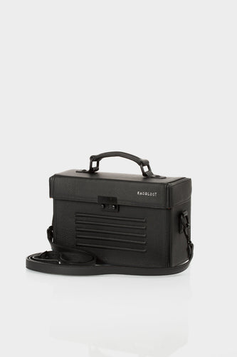 Old Street black leather unisex box bag