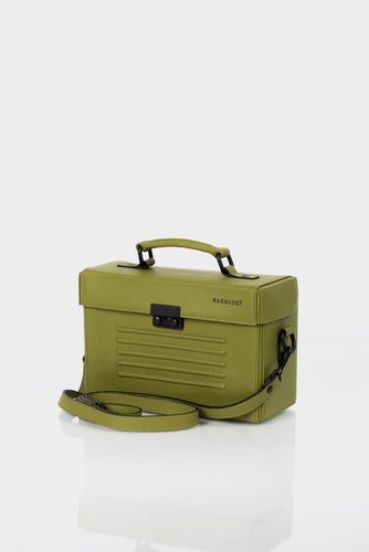 Old Street olive green leather unisex box bag