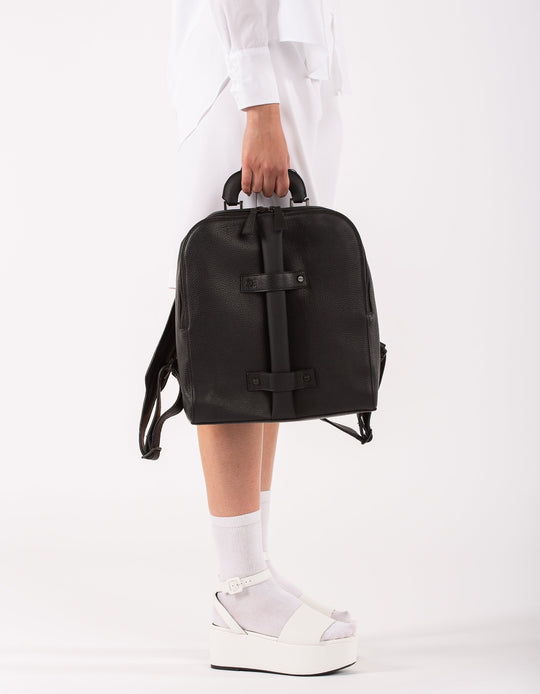 Brixton black leather unisex backpack