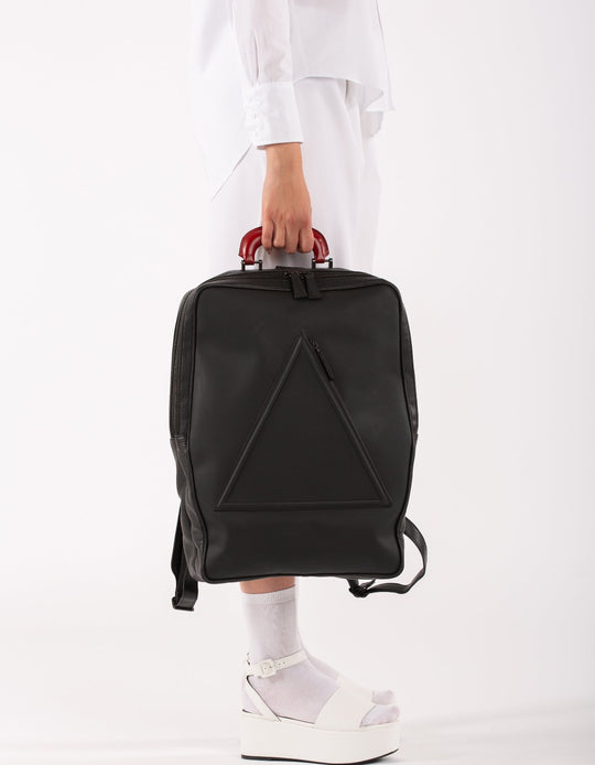 Barbican black leather unisex backpack