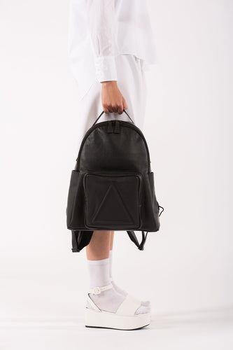 Soho black leather unisex backpack