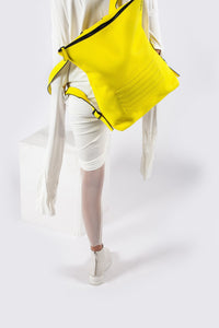 Bright yellow real leather stylish unisex backpack - Bagology