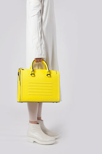 Bright yellow real leather stylish shoulder bag satchel - Bagology