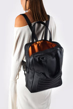 Black leather stylish unisex two in one backpack handbag - Bagology