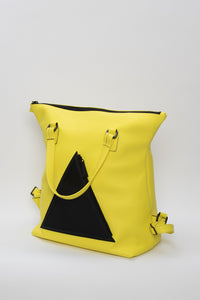 Hoxton yellow leather unisex travel backpack/bag