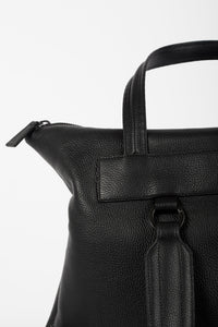 Hoxton black leather unisex travel backpack/bag