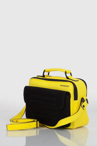 Bright yellow real leather stylish shoulder bag handbag - Bagology