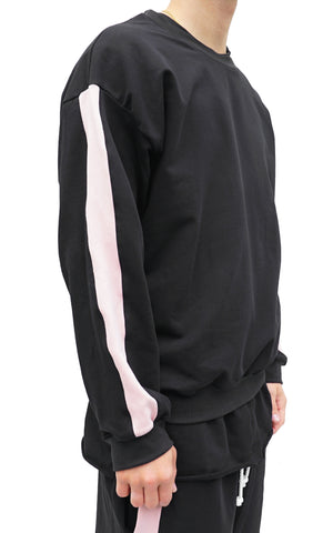TERRY CREW ROSE STRIPED - BLACK