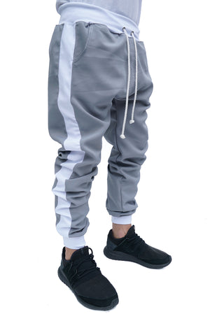 TRACK PANTS SILVER - WHITE STRIPED