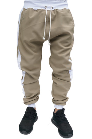 TRACK PANTS TAN - WHITE STRIPED