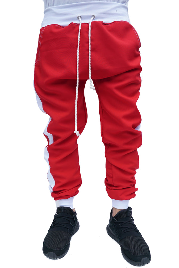 TRACK PANTS RED - WHITE STRIPED