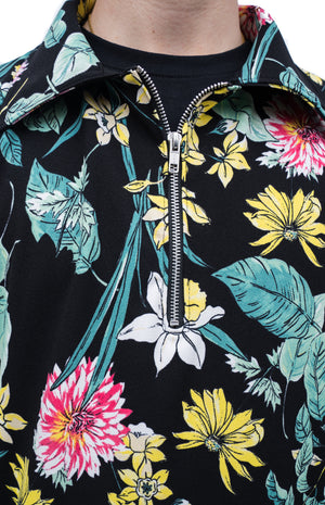 Floral Half Zip-Up Shirt