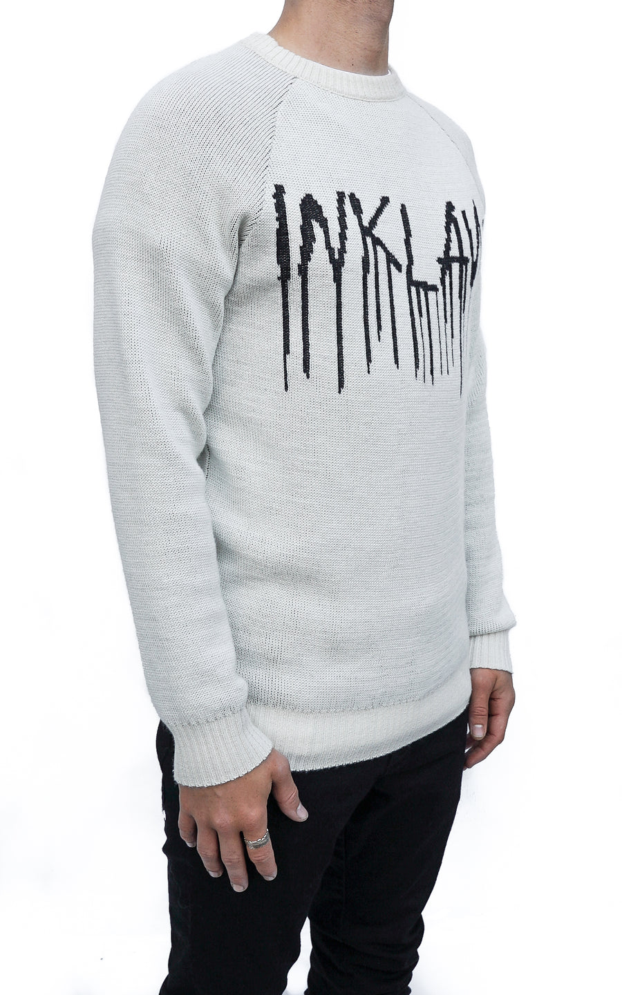 ONYX TEAR KNIT SWEATER - WHITE
