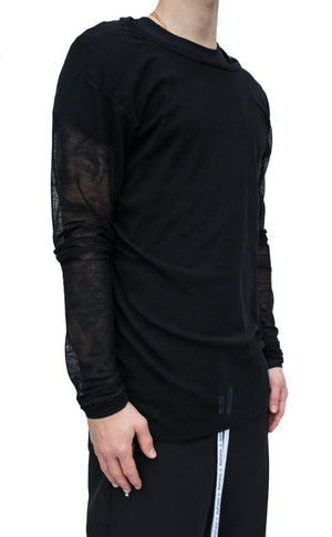 SHEER LONG SLEEVE - BLACK