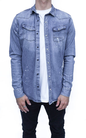 INKED DENIM SHIRT - INDIGO