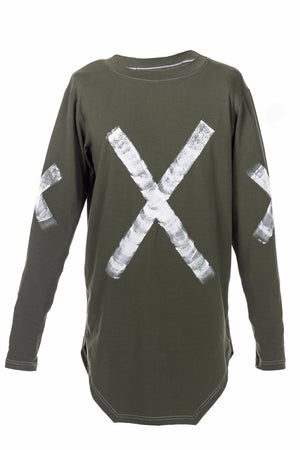 STATEMENT LONG SLEEVE - ARMY W/ WHITE PAINT