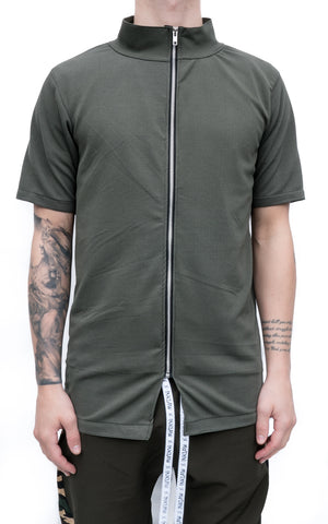 ZIP UP T-SHIRT - ARMY GREEN