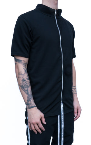 ZIP UP T-SHIRT - BLACK