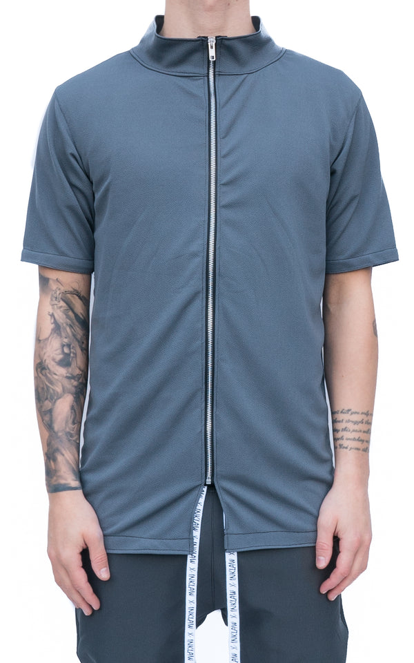 ZIP UP T-SHIRT - GREY