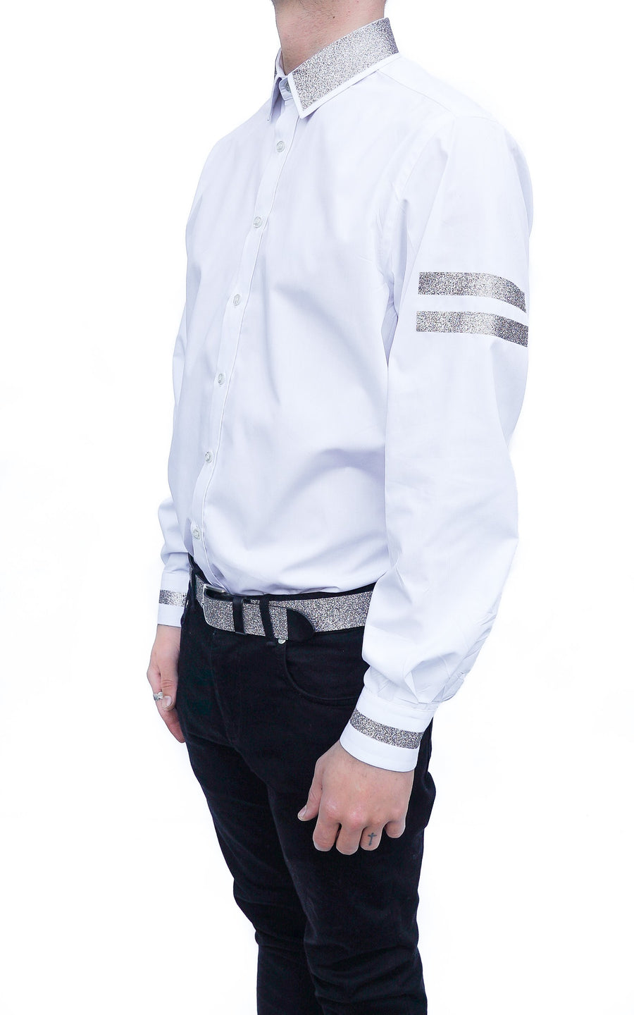 GLITTER LOOSE FIT SHIRT - WHITE