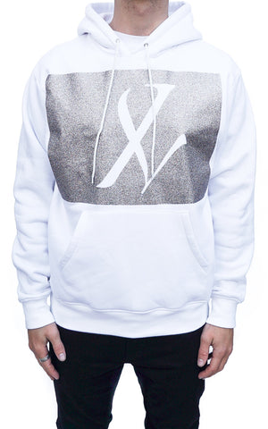 X GLITTER HOODIE - Optical White