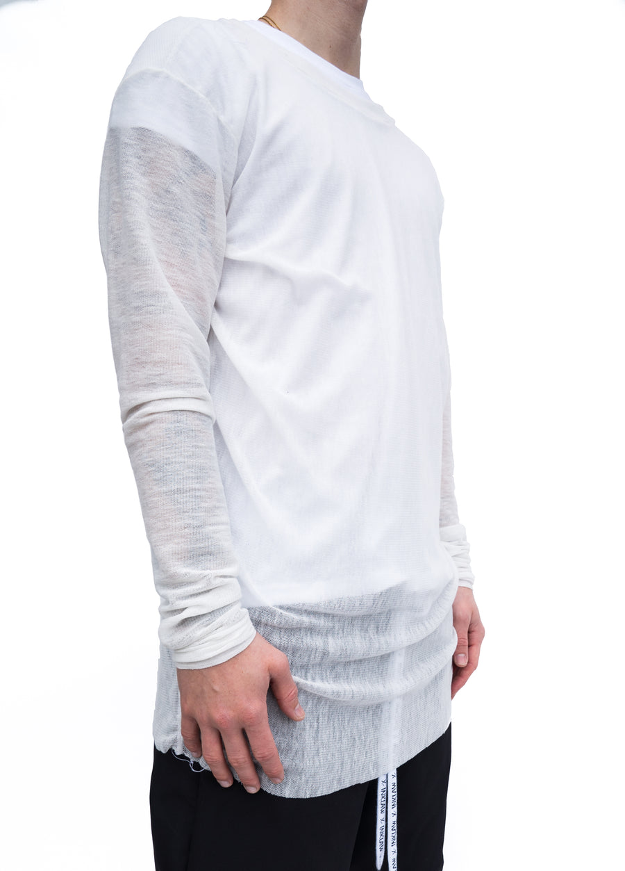 SHEER LONG SLEEVE - WHITE