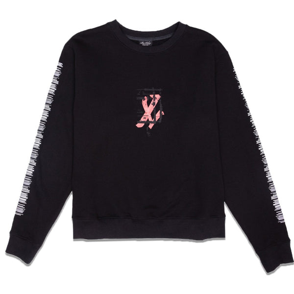 ONYX TEAR CREWNECK SWEATER - BLACK
