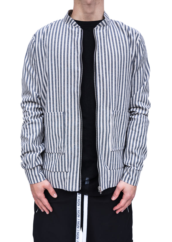 PINSTRIPED BOMBER JACKET