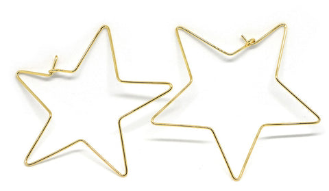Star shaped 18k gold hoop earrings