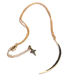 Magic and Madness Black Moon Rising Necklace 18K gold black cz