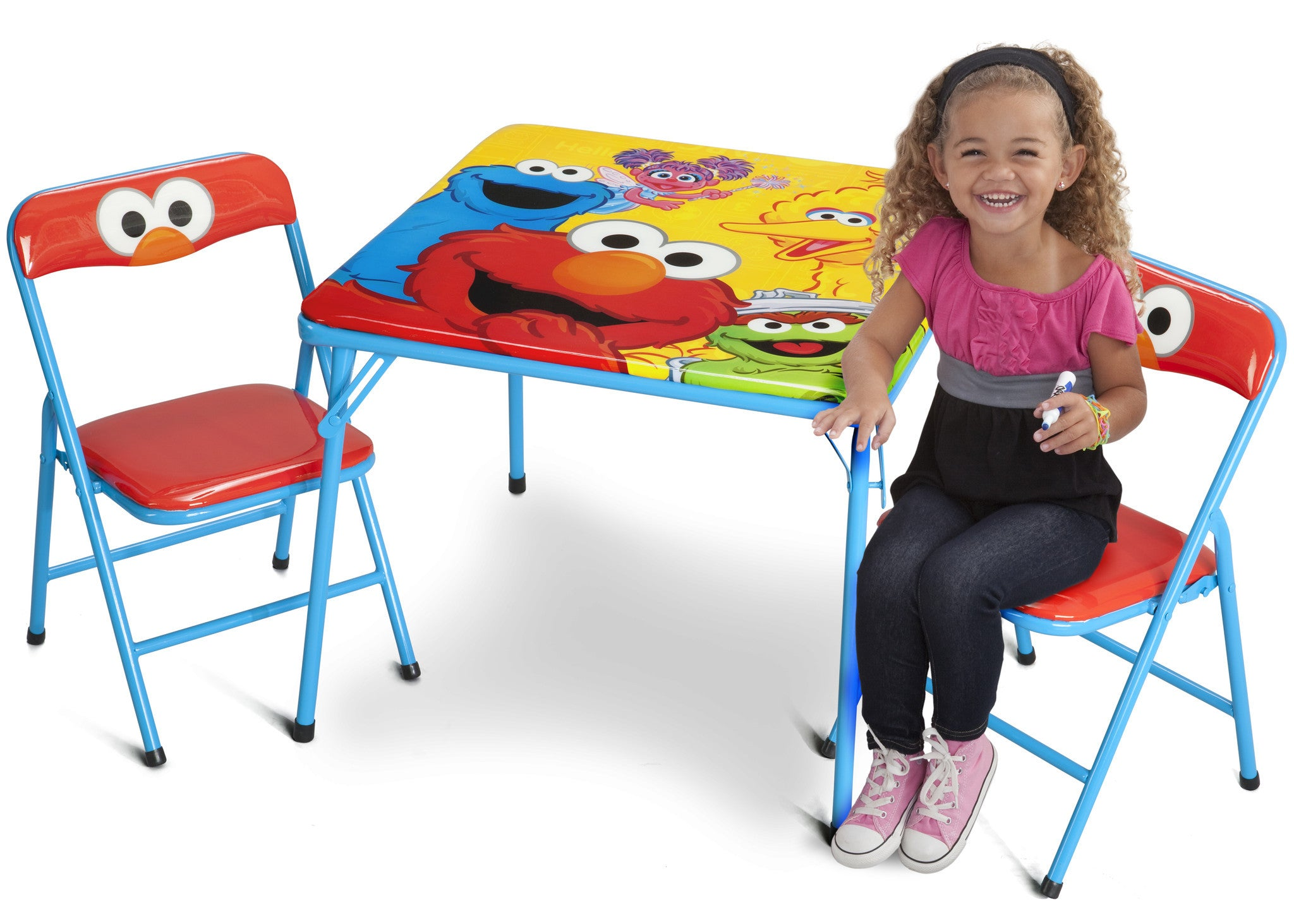 Picture of: Sesame Street Metal Folding Table Chair Set Deltaplayground
