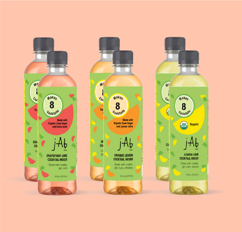Two of Each Favorite Flavor of JABnow. Organic Cocktail Mixers. 100% fresh juice to enjoy with your alcoholic drinks.