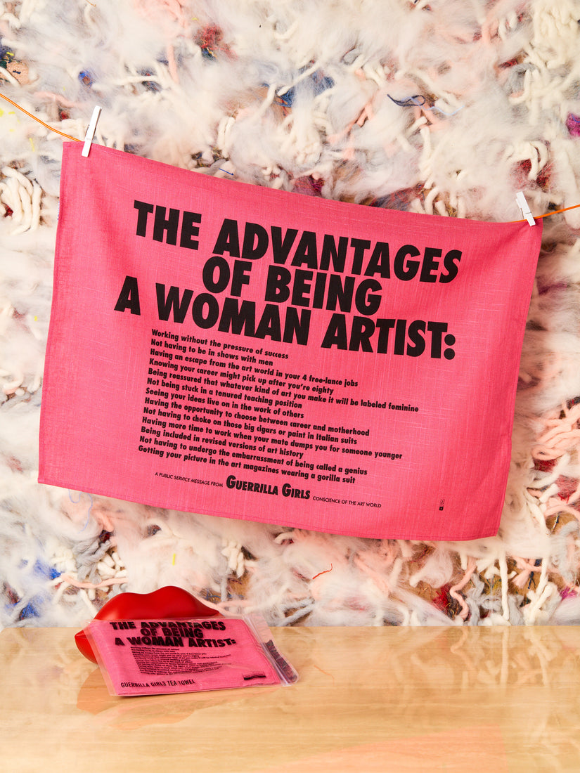The Advantages Of Being A Woman Artist Tea Towel by Guerrilla Girls