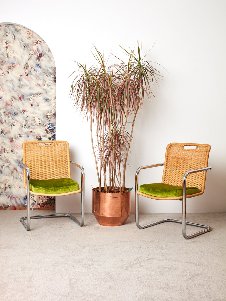 Vintage Rattan and Chrome Chairs