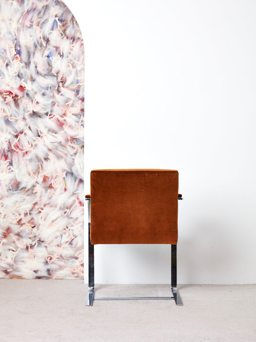 BRNO Flat Bar Chair in Brown Velvet