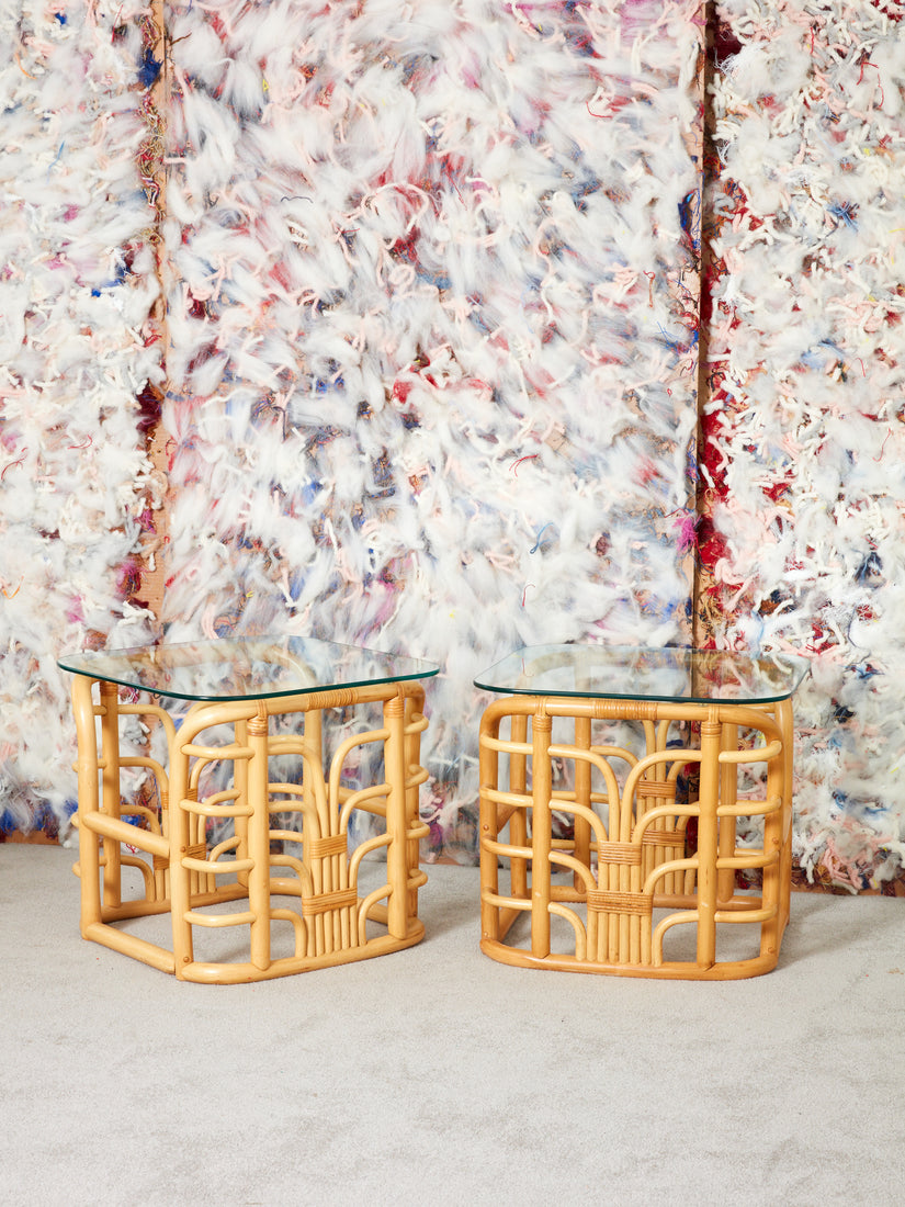 Rattan and Glass End Tables