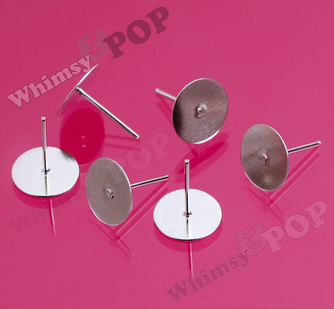 Silver Earring Post Blanks - 10mm Glue Pad - WhimsyandPOP