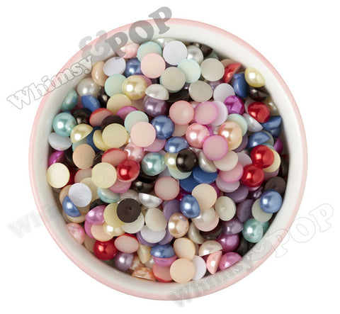 MIXED Color 10mm Flatback Pearl Cabochons