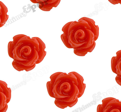 RED 10mm Rose Flower Cabochons - WhimsyandPOP